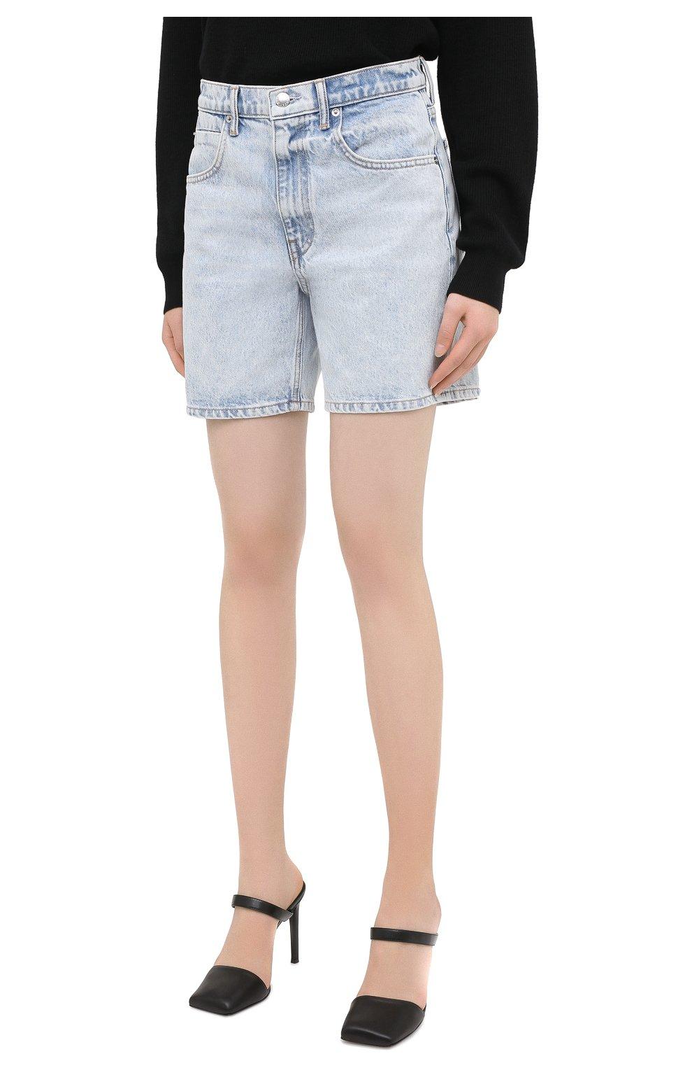 Женские джинсовые шорты DENIM X ALEXANDER WANG голубого цвета, арт. 4DC2204720   Фото 3 (Женское Кросс-КТ: Шорты-одежда; Кросс-КТ: Деним; Длина Ж (юбки, платья, шорты): Мини; Материал внешний: Хлопок)