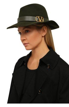 Женская фетровая шляпа  VALENTINO зеленого цвета, арт. UW2HAA26/YTE | Фото 2