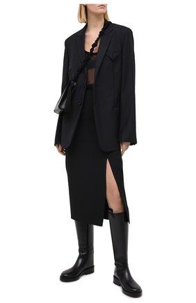 Женская юбка из шерсти и шелка VALENTINO черного цвета, арт. UB0RA6V11CF | Фото 2