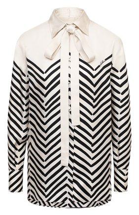 Женская шелковая блузка VALENTINO черно-белого цвета, арт. UB3AB18T5LJ | Фото 1