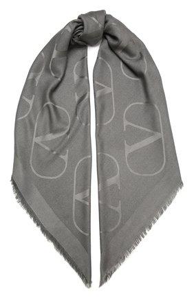 Женская шаль из шелка и шерсти VALENTINO серого цвета, арт. UW0EB104/DNE   Фото 1