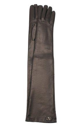 Женские кожаные перчатки VALENTINO черного цвета, арт. UW0GCA19/WZF | Фото 1 (Длина (верхняя одежда): Длинные)