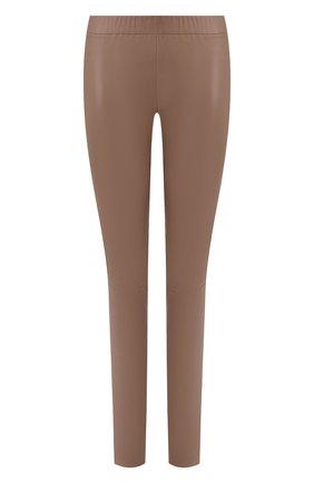Женские кожаные леггинсы MAX&MOI коричневого цвета, арт. PERLEGGING | Фото 1