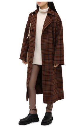 Женские кожаные леггинсы MAX&MOI коричневого цвета, арт. PERLEGGING | Фото 2