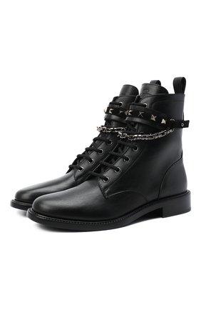 Женские кожаные ботинки valentino garavani rockstud chain VALENTINO черного цвета, арт. UW2S0AC4/NPZ | Фото 1