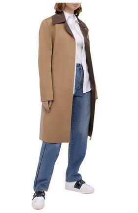 Женские кожаные кеды rockstud VALENTINO темно-синего цвета, арт. UW0S0A01/HEL | Фото 2
