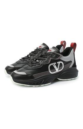 Женские кожаные кроссовки valentino garavani shegoes VALENTINO черного цвета, арт. UW0S0AB1/KCX   Фото 1