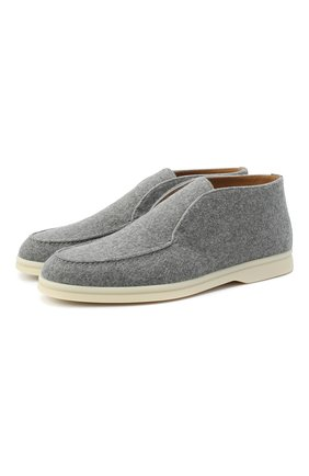 Женские замшевые ботинки open walk LORO PIANA серого цвета, арт. FAL2797 | Фото 1
