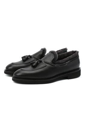 Мужские кожаные лоферы DOUCAL'S черного цвета, арт. DU2753VER0UM065RN00 | Фото 1