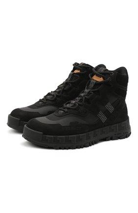 Мужские комбинированные ботинки VERSACE черного цвета, арт. DSU8180/DNATECG | Фото 1