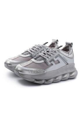 Мужские комбинированные кроссовки chain reaction VERSACE серебряного цвета, арт. DSU7071E/D10TCG | Фото 1
