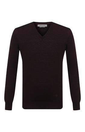 Мужской шерстяной пуловер CORNELIANI бордового цвета, арт. 00M501-0025100/00 | Фото 1