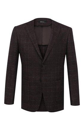 Мужской пиджак из шерсти и шелка Z ZEGNA коричневого цвета, арт. 850752/1VRUG0   Фото 1