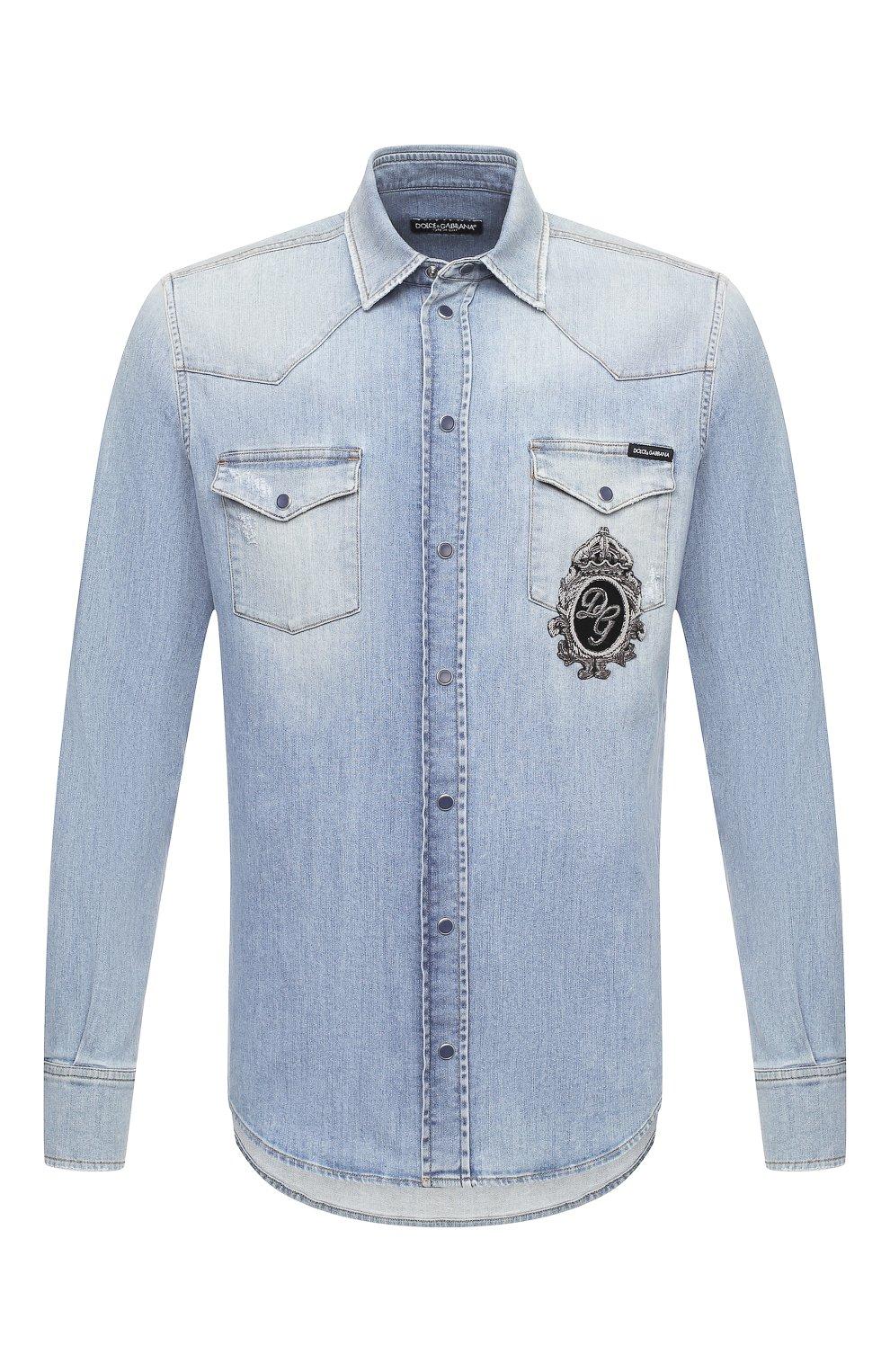 Мужская джинсовая рубашка DOLCE & GABBANA голубого цвета, арт. G5EX7Z/G8CT0 | Фото 1