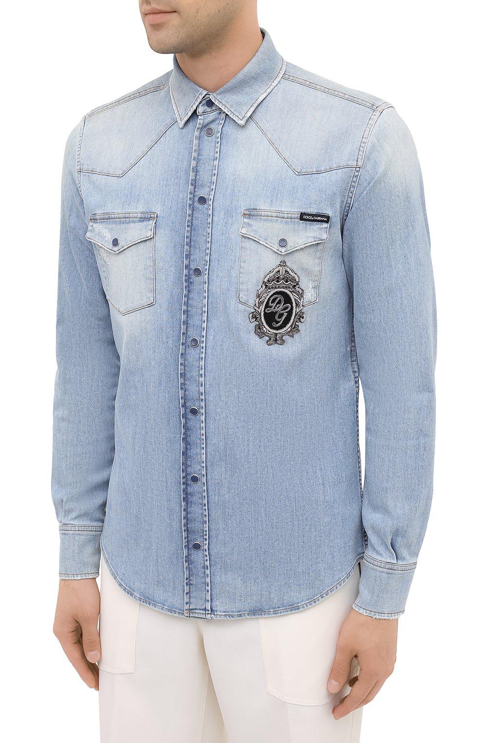 Мужская джинсовая рубашка DOLCE & GABBANA голубого цвета, арт. G5EX7Z/G8CT0 | Фото 3