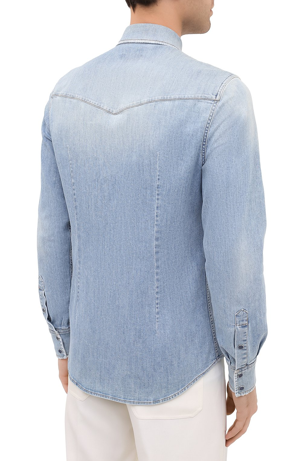 Мужская джинсовая рубашка DOLCE & GABBANA голубого цвета, арт. G5EX7Z/G8CT0 | Фото 4