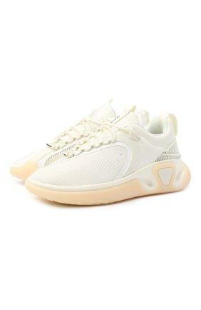 Мужские комбинированные кроссовки b-runner BALMAIN белого цвета, арт. UM0C240/LSMH | Фото 1 (Материал внешний: Текстиль; Материал внутренний: Натуральная кожа, Текстиль; Стили: Гранж; Подошва: Массивная)