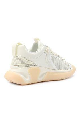 Мужские комбинированные кроссовки b-runner BALMAIN белого цвета, арт. UM0C240/LSMH | Фото 4 (Материал внешний: Текстиль; Материал внутренний: Натуральная кожа, Текстиль; Стили: Гранж; Подошва: Массивная)