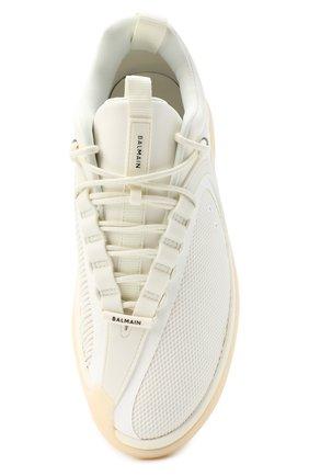Мужские комбинированные кроссовки b-runner BALMAIN белого цвета, арт. UM0C240/LSMH | Фото 5 (Материал внешний: Текстиль; Материал внутренний: Натуральная кожа, Текстиль; Стили: Гранж; Подошва: Массивная)