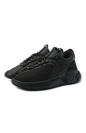 Мужские комбинированные кроссовки b-runner BALMAIN черного цвета, арт. UM0C240/LSSH | Фото 1