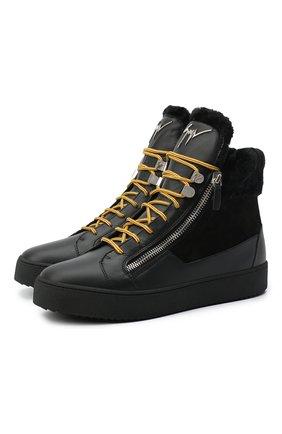 Мужские кожаные кеды trek GIUSEPPE ZANOTTI DESIGN черного цвета, арт. RU00056/002 | Фото 1