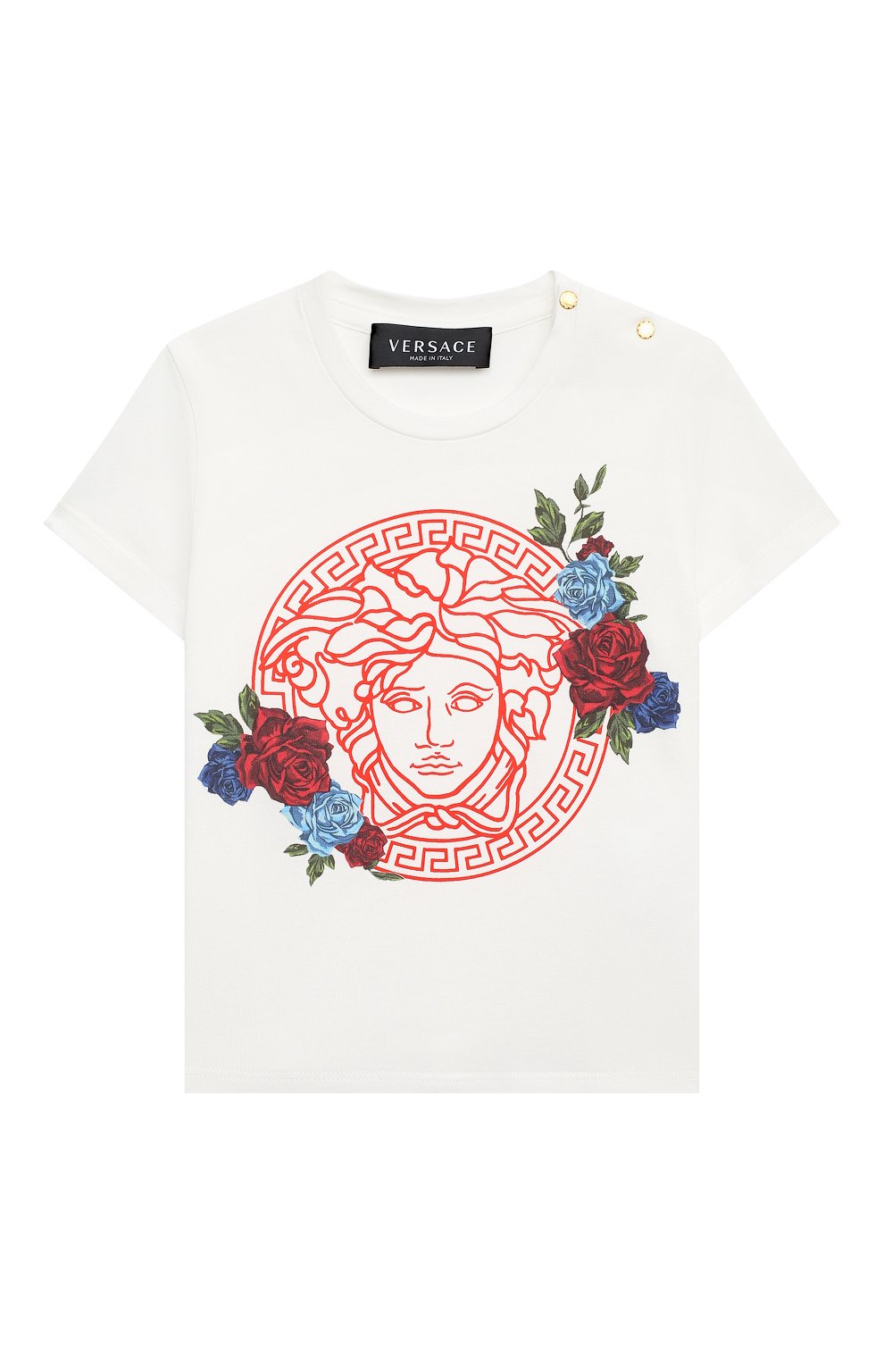 Детский хлопковая футболка VERSACE белого цвета, арт. YA000217/YA00019 | Фото 1