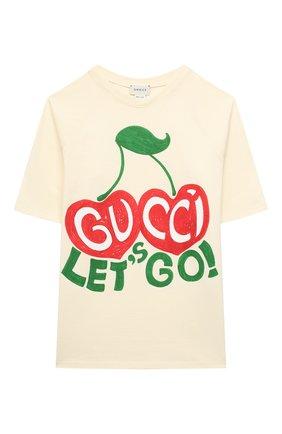 Детская хлопковая футболка GUCCI бежевого цвета, арт. 636574/XJCSX | Фото 1