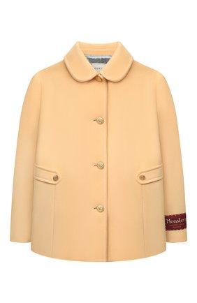 Детское шерстяное пальто GUCCI бежевого цвета, арт. 630117/ZB810 | Фото 1