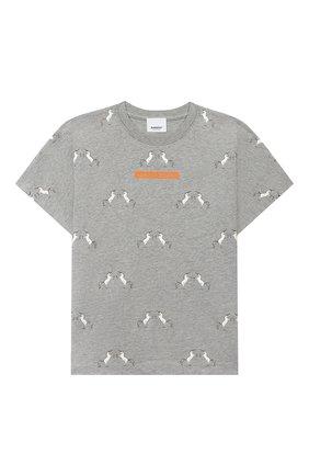 Детская хлопковая футболка BURBERRY серого цвета, арт. 8028849 | Фото 1