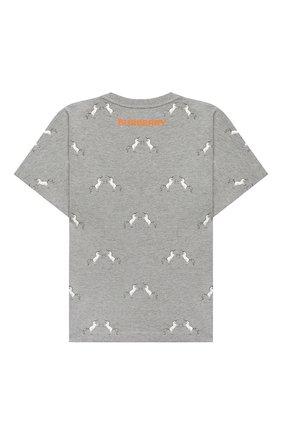 Детская хлопковая футболка BURBERRY серого цвета, арт. 8028849 | Фото 2