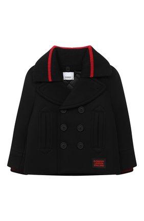 Детское шерстяное пальто BURBERRY черного цвета, арт. 8029418 | Фото 1