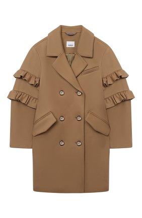 Детское шерстяное пальто BURBERRY бежевого цвета, арт. 8029588   Фото 1