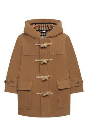 Детское шерстяное пальто BURBERRY бежевого цвета, арт. 8029861 | Фото 1