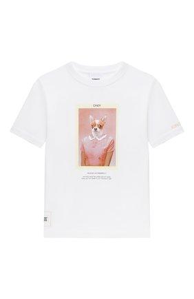 Детская хлопковая футболка BURBERRY белого цвета, арт. 8030637 | Фото 1