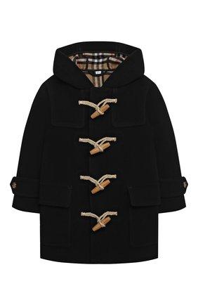 Детское шерстяное пальто BURBERRY черно-белого цвета, арт. 8031593 | Фото 1