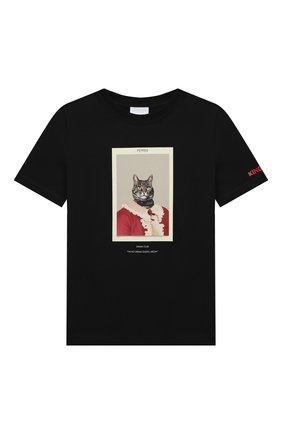 Детская хлопковая футболка BURBERRY черного цвета, арт. 8031823 | Фото 1