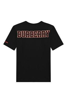 Детская хлопковая футболка BURBERRY черного цвета, арт. 8031823 | Фото 2