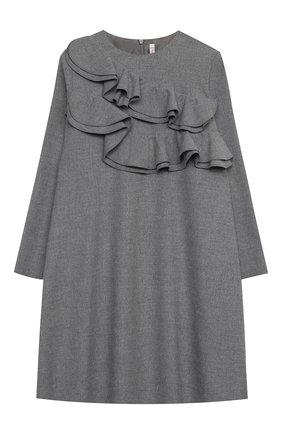 Детское платье IL GUFO серого цвета, арт. A20VL402W0003/10A-12A | Фото 1 (Рукава: Длинные; Случай: Повседневный; Материал внешний: Синтетический материал; Материал подклада: Синтетический материал)
