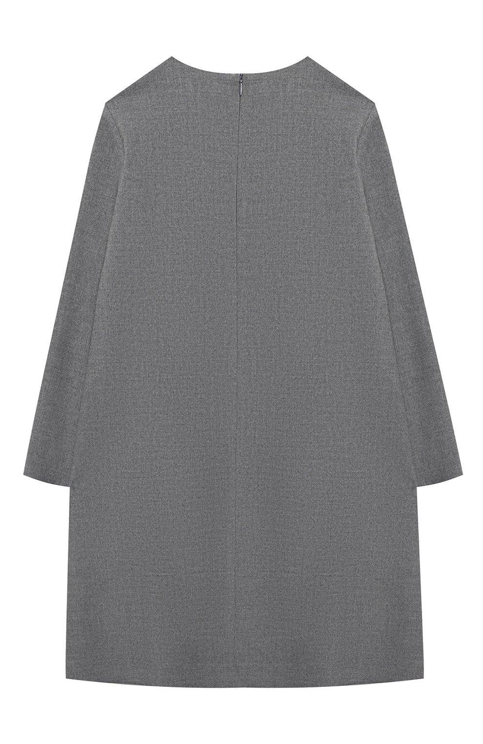 Детское платье IL GUFO серого цвета, арт. A20VL402W0003/10A-12A | Фото 2 (Рукава: Длинные; Случай: Повседневный; Материал внешний: Синтетический материал; Материал подклада: Синтетический материал)