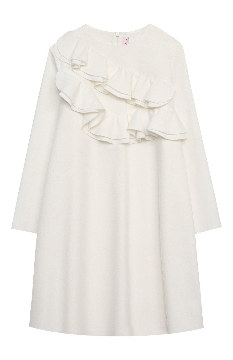 Детское платье IL GUFO белого цвета, арт. A20VL402W0003/10A-12A | Фото 1 (Рукава: Длинные; Случай: Повседневный; Материал внешний: Синтетический материал; Материал подклада: Синтетический материал; Девочки Кросс-КТ: Платье-одежда)