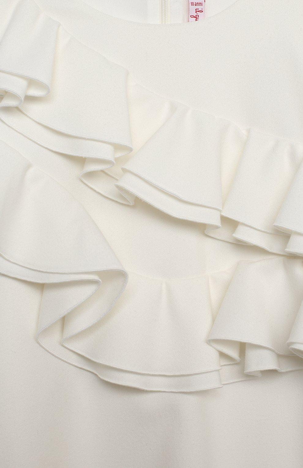 Детское платье IL GUFO белого цвета, арт. A20VL402W0003/10A-12A | Фото 3 (Рукава: Длинные; Случай: Повседневный; Материал внешний: Синтетический материал; Материал подклада: Синтетический материал; Девочки Кросс-КТ: Платье-одежда)