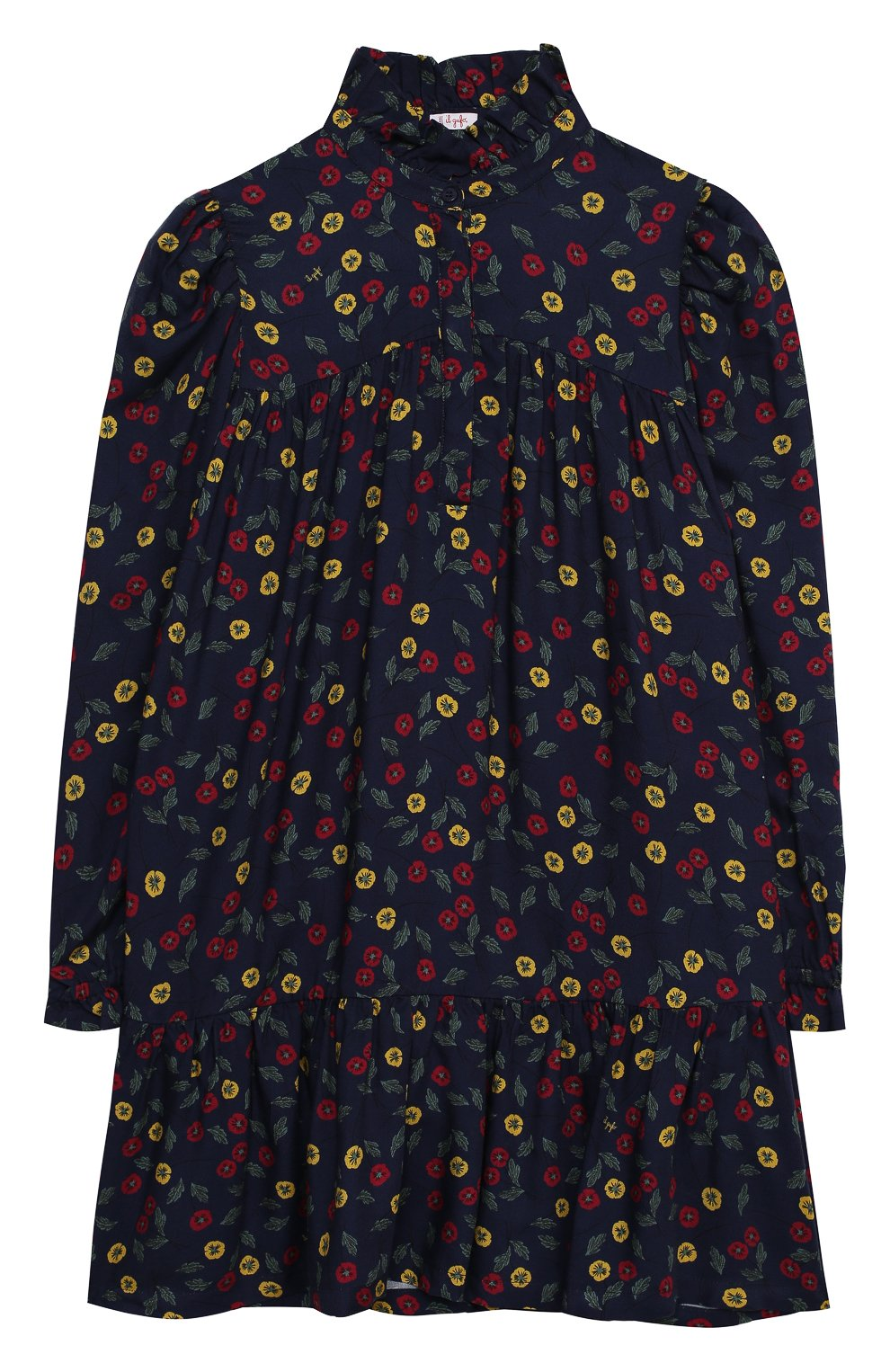 Детское платье IL GUFO темно-синего цвета, арт. A20VL410N4016/10A-12A   Фото 1 (Рукава: Длинные; Случай: Повседневный; Материал внешний: Вискоза; Девочки Кросс-КТ: Платье-одежда)
