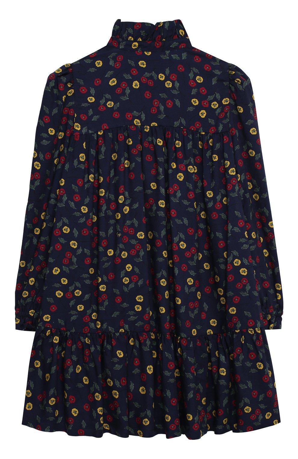 Детское платье IL GUFO темно-синего цвета, арт. A20VL410N4016/10A-12A   Фото 2 (Рукава: Длинные; Случай: Повседневный; Материал внешний: Вискоза; Девочки Кросс-КТ: Платье-одежда)