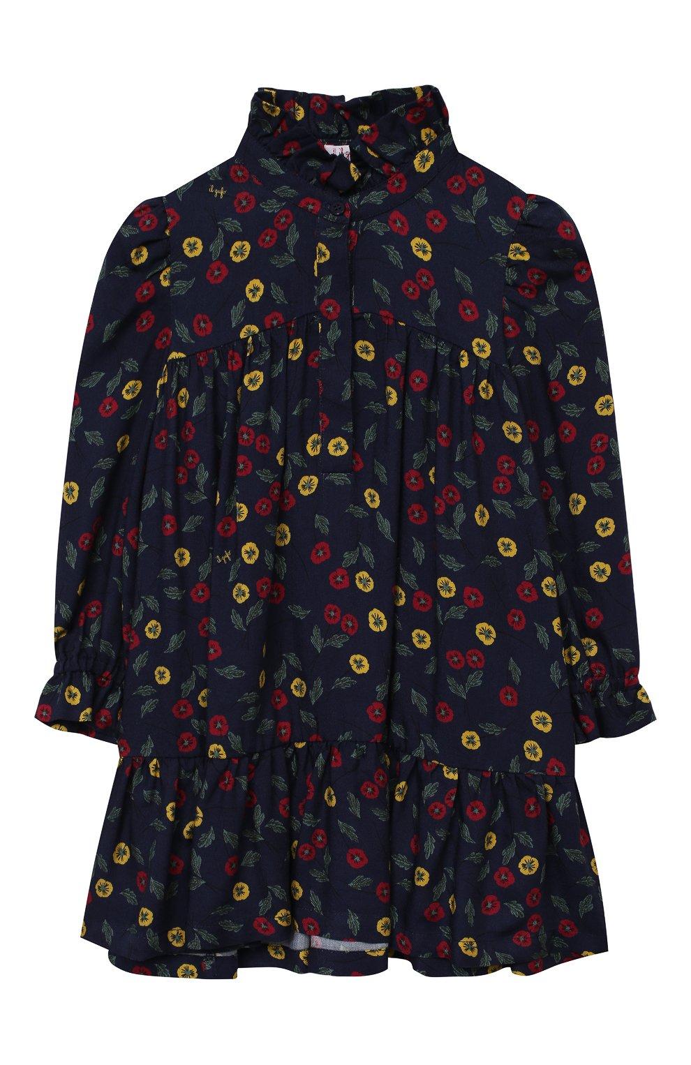 Детское платье IL GUFO темно-синего цвета, арт. A20VL410N4016/2A-4A   Фото 1 (Рукава: Длинные; Случай: Повседневный; Материал внешний: Вискоза; Девочки Кросс-КТ: Платье-одежда)