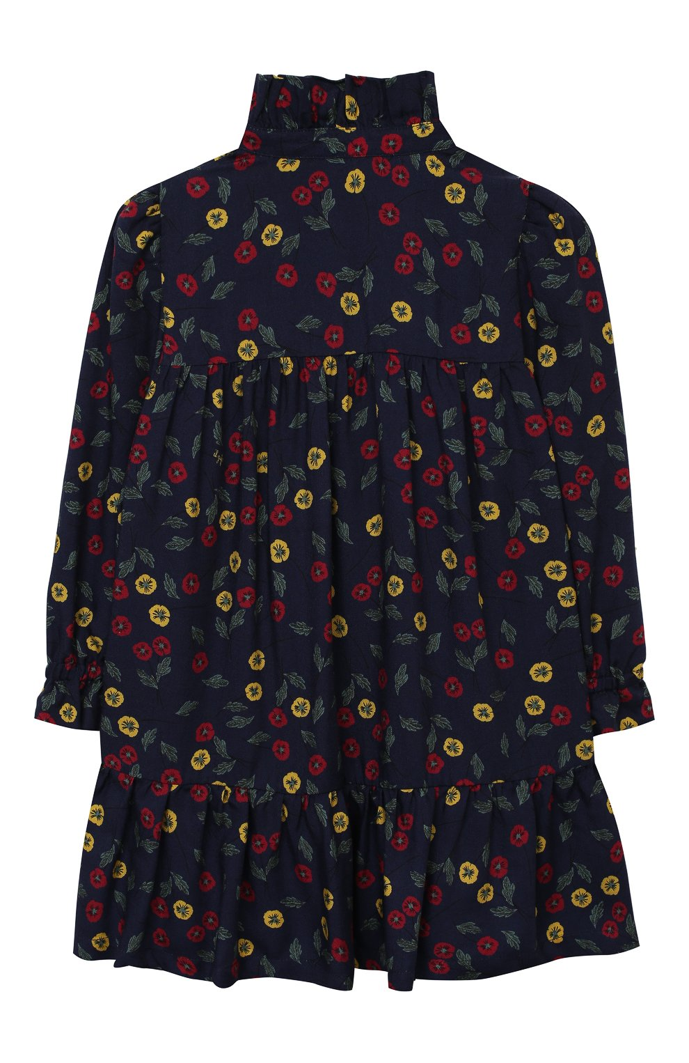 Детское платье IL GUFO темно-синего цвета, арт. A20VL410N4016/2A-4A   Фото 2 (Рукава: Длинные; Случай: Повседневный; Материал внешний: Вискоза; Девочки Кросс-КТ: Платье-одежда)