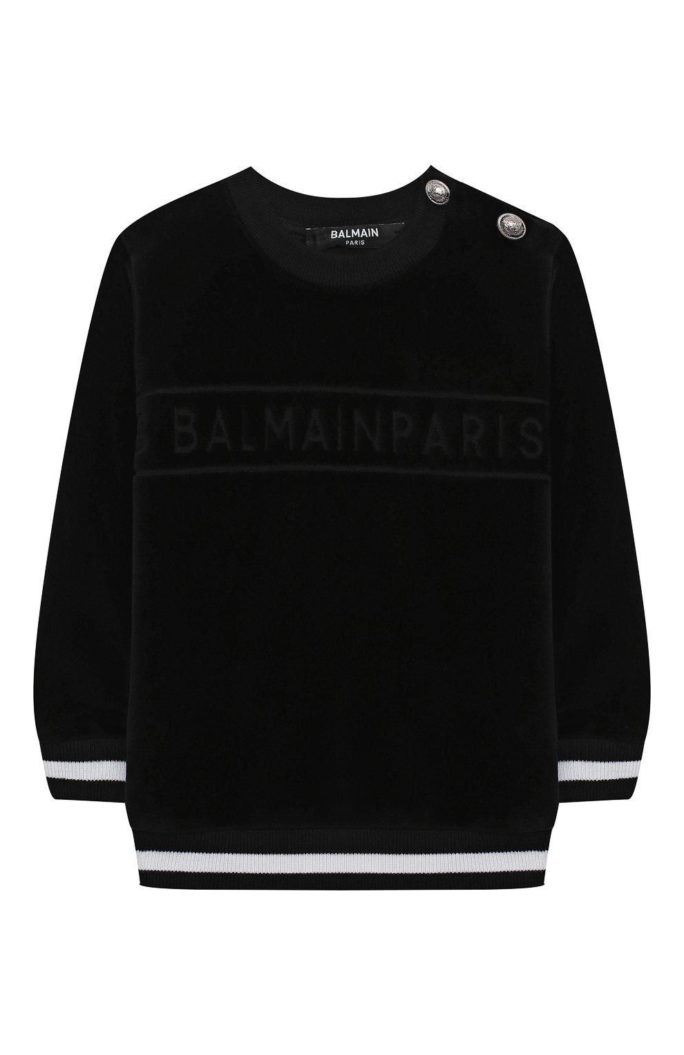 Детский хлопковый свитшот BALMAIN черного цвета, арт. 6N4830/NB430/3-9M   Фото 1