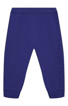 Детские хлопковые джоггеры BALMAIN синего цвета, арт. 6N6870/NX300/3-9M | Фото 1