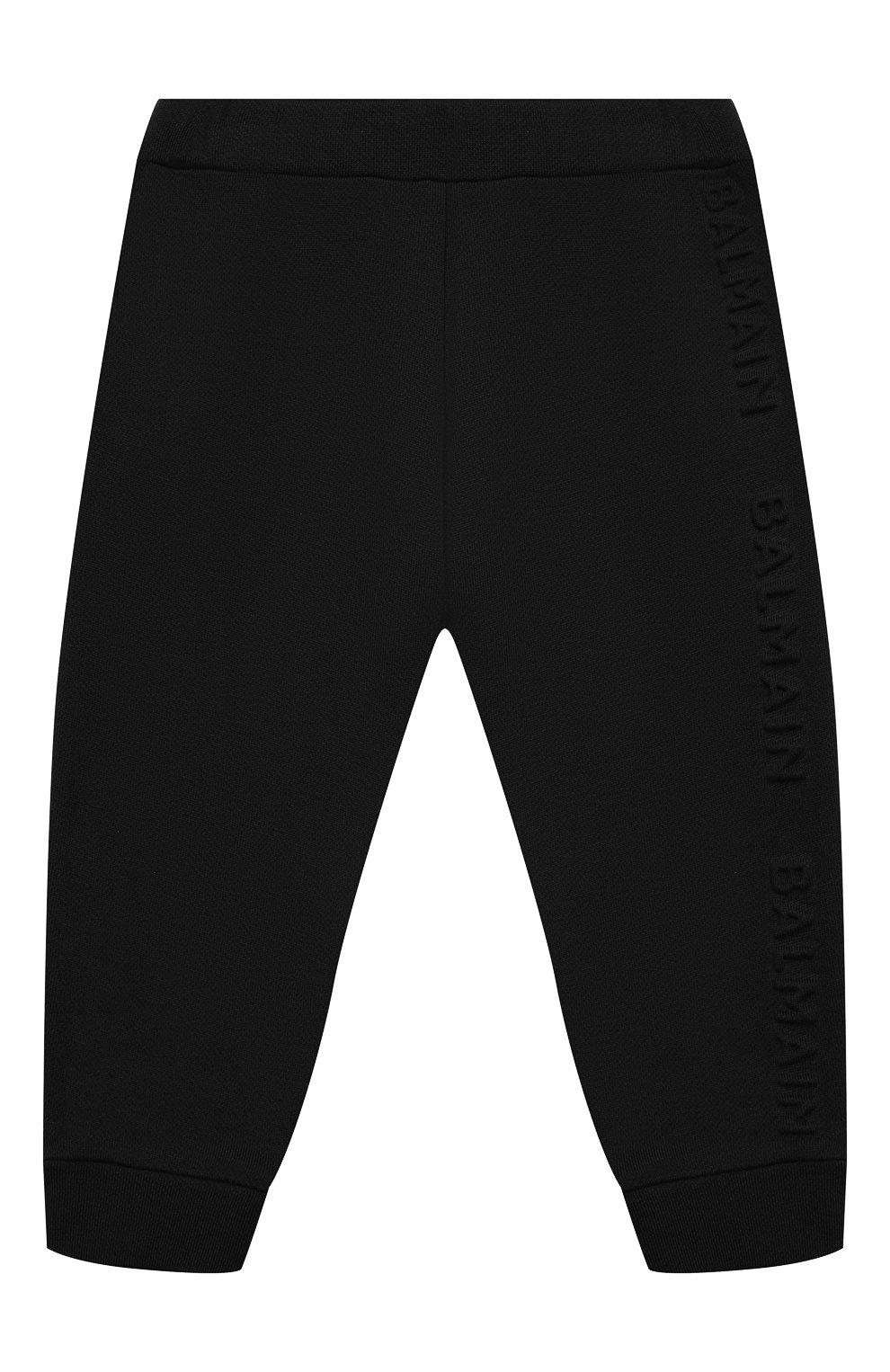 Детские хлопковые джоггеры BALMAIN черного цвета, арт. 6N6870/NX300/3-9M   Фото 1