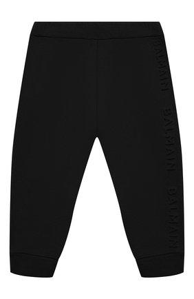 Детские хлопковые джоггеры BALMAIN черного цвета, арт. 6N6870/NX300/3-9M | Фото 1