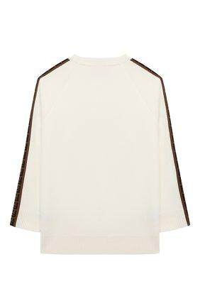 Детский шерстяной пуловер FENDI белого цвета, арт. JUG003/A8L9/8A-12+ | Фото 2